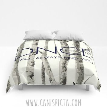 Once Upon A Time Comforter OUAT Queen King Full size Decor Magic Home Bed Bedroom Bedding Quote Woodland Tree TV Fan Fandom Show Gift Grey