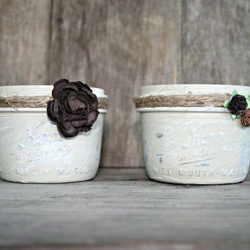 Home and Wedding Decor - Painted and Distressed Mason Jars, Annie Sloan Chalk Paint, Vase or Home Organization, Shabby Chic, Country Style