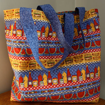 Washable Picnic Themed Quilted Grocery Bag