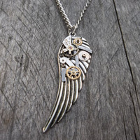Clockpunk Steampunk Pendant Necklace, Antiqued Silver Wings with Watch Gears & Parts on Curb Chain