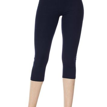 Deluxe Solid Capri Leggings with 3 Inch Waistband