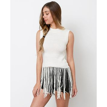 I Heart Fringe Sweater Top - Ivory