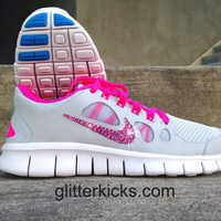 Nike Free Run 5.0 Running Training Jogging Shoes Customized with Pink Swarovski Elements Crystal Rhinestones New In Box Pink Gray White Blue