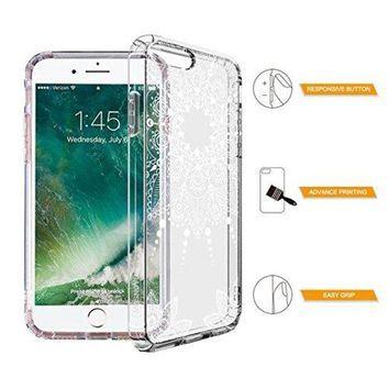 VONW3Q iPhone 7 Plus Case, iPhone 7 Plus Clear Case,MOSNOVO White Henna Mandala Floral Lace Clear Design Printed Transparent Hard Case with TPU Bumper Protective Back Case Cover for iPhone 7 Plus (2016)
