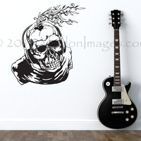 Music Skeleton wall decal, teen room wall decor, music wall decal, dorm room wall decal, living room wall decal, skeleton stickers, wall art