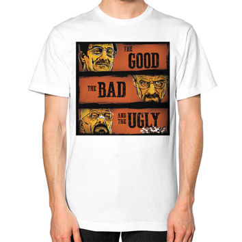 The Good, the Breaking Bad and the Ugly Unisex T-Shirt (on man)