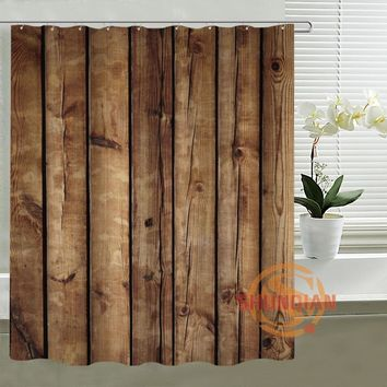 Faux wood Custom Shower Curtain Waterproof polyester Fabric Bath screens Curtains for Bathroom