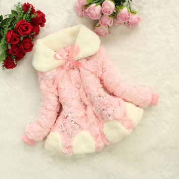 Baby Girls Flower Lace Faux Fur Outwear Xmas Coats = 1931832324