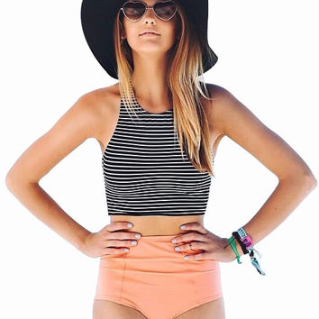 stripe Vest Tops high waist triangle high neck bikini set women beach bikinis Swimwears Swimsuit bathing suit vintage