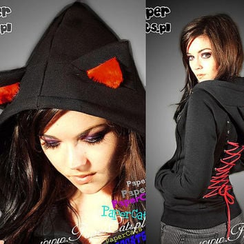 Hoodie black cat ears red corset kawaii by PaperCatsPL on Etsy