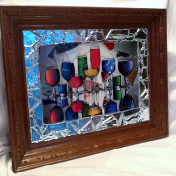 "Bar Decor ""Happy Hour"" Stained glass mosaic picture 16"" x 20"" Handcrafted OOAK Totty Wine Liquar Drinks Unique gift idea"