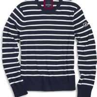 Sperry Top-Sider Nautical Stripe Crew Neck Sweater PeacoatNavy/SoftIvory, Size XL  Men's