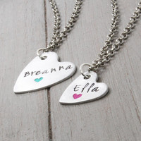 Heart Necklace, Name Necklace, Hand Stamped Name Necklace, Handstamped Jewelry, personalized Jewelry, Personal Gift Idea,