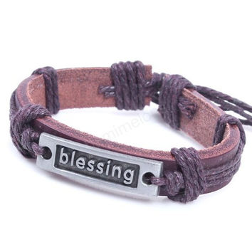 blessing bracelet,heart bracelet,hope Bracelet,brow leather,Couples bracelet,lover bracelet,leather bracelet,fashion hipsters jewelry,braided bracelet,simple bracelet