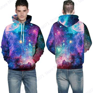 Autumn Winter Psychedelic Star Skateboard Hoodies Blue Space Galaxy Sweatshirt Autumn Active Hip Hop Sportsuit Moleton Masculino