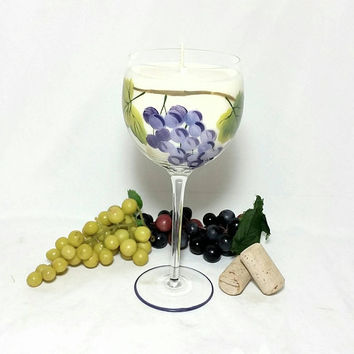 Wine Glass Soy Candle/Hand Painted Grape Wine Glass Candle/Winery Vineyard Grape Tuscan Home Decor/Shiraz Wine Scent