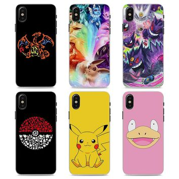 MOUGOL cartoon s eevee pika Style Clear hard Phone Case for Apple iPhone X 7 8 8Plus 7Plus 6 6s 6Plus SE 5 5s 4sKawaii Pokemon go  AT_89_9
