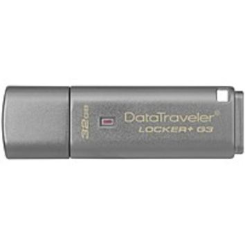 Kingston 32GB DataTraveler Locker+ G3 USB 3.0 Flash Drive - 32 GB - USB 3.0 - Silver - 1-Pack - Encryption Support, Password Protection, Drop Proof