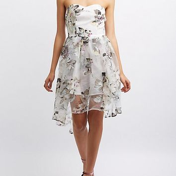 Floral Strapless Skater Dress