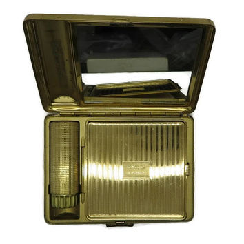 Kigu of London Compact Vintage Lipstick Powder Case Gold Tone Mirrored Makeup Case