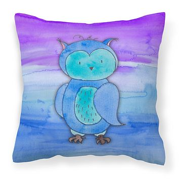 Blue Owl Watercolor Fabric Decorative Pillow BB7426PW1414