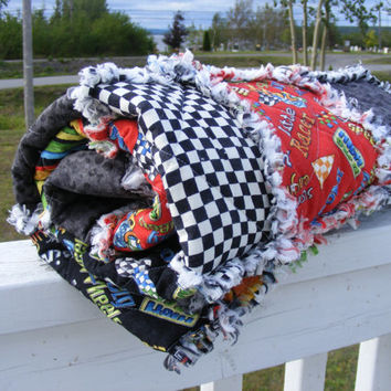 Baby Boy/Toddler/Crib Rag Quilt, Hot Rods Ride Again, Handmade, Black Red Green.Blue White Gray Yellow, Ready to Ship, 36 x 42