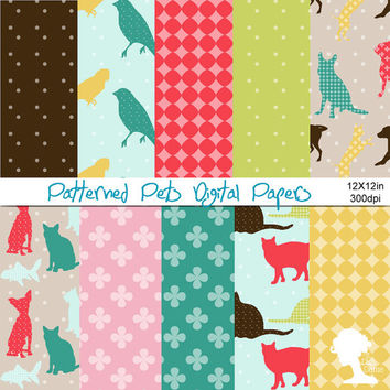Digital Papers: INSTANT DOWNLOAD Patterned Pets including Dogs, Cats, Birds, Fish and Rabbits