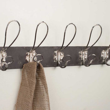 Vintage Inspired Five Hook Metal Coat Rack - Set Of 2 - *FREE SHIPPING*