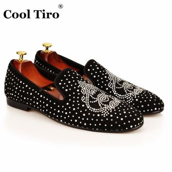 COOL TIRO new Fashion Rhinestone Black cattle suede Men Flats Smoking Slippers Loafers