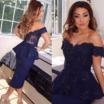 Sexy Tea Length Cocktail Dress Navy Blue Off the Shoulder Appliqued Woman Party Gowns Dresses 2017