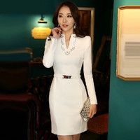 spring 2016 new autumn women dress elegant white slim all-match one-piece long-sleeve slim female casual winter dress
