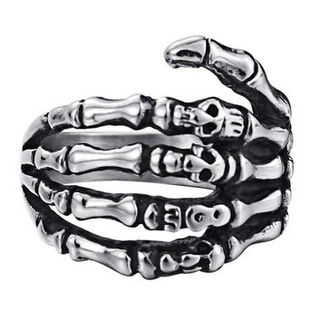 Vintage Gothic Viking Ring Skull Hand Claws Men Rings Unique Male Punk Rock Hip Hop Biker Band Titanium Stainless Steel DCR086