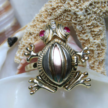 14k Frog Ring Trembler Movable Locket Ring 3D 6.45g Size 8.5