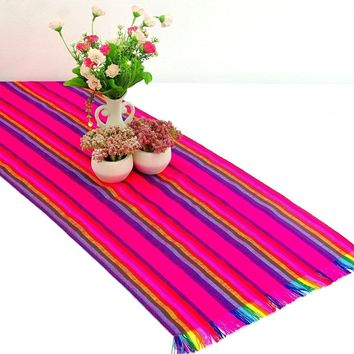 Mexican table runner, Pink Table runner 14x72 Inches, Fiesta Decoration, Cinco de Mayo, Boho Chic Decor, 14X72TRC55