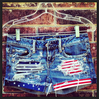 Stars and Stripes Studded Upcycled Vintage Denim Shorts