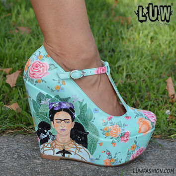 FRIDA - Frida Kahlo inspired, hand painted, hand made, wedge shoe, wedding shoe