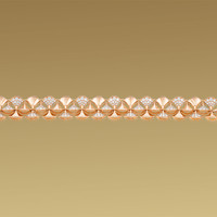 Diva bracelet in 18 kt pink gold with pavè diamonds. - size 16 cm