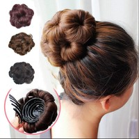 Easy Clip In Big Flower bandana tiara Hair Bun bow crown Chignon Plastic Comb Synthetic ring pin hairpin horn Black Brown wigs