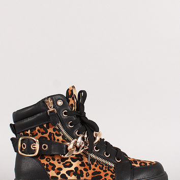 Leopard Chain Lace Up Round Toe Sneaker
