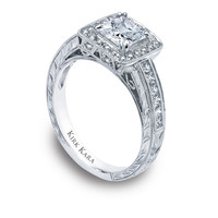 Kirk Kara hand-engraved square shaped halo engagement ring with princess cut center and princess cut side diamonds from the Kirk Kara Carmella collection crafted with 0.61 carats of diamonds