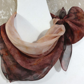 Silk square scarf Caramel. Watercolor Hand-Painted Silk Shawl. Hand-Dyed Chiffon. Dark Chocolate Brown Garnet Beige. Ready. 70x70cm, 28x28""