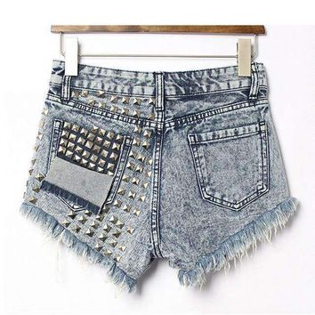 Woman Loose High Waist Ripped Rivets Denim Shorts Plus Size Pocket Sequined Damaged Shorts For zih160