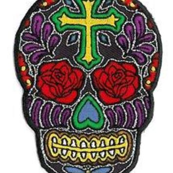 "Novelty Iron On Patch - Cross Sugar Skull Face w/ Rose Flower Eyes Applique, Size - 3.5"" Tall by 3"" Wide By Hat Shark"
