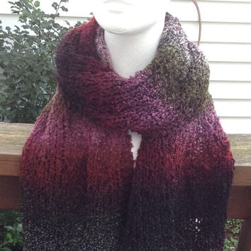 Multicolored Holiday Christmas Winter Knitted Scarf