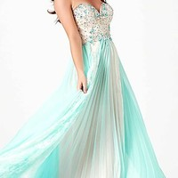Strapless Two Toned Mac Duggal Prom Gown