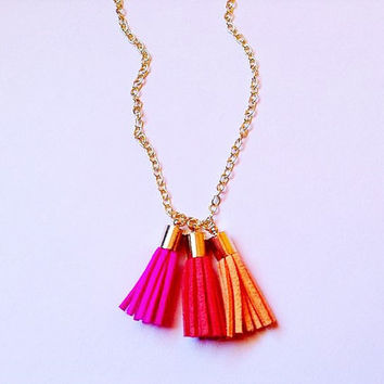 Colorful tassel necklace, statement necklace, fringe necklace, mixed color tassel necklace, tassel jewelry, tassel necklace, bohemian