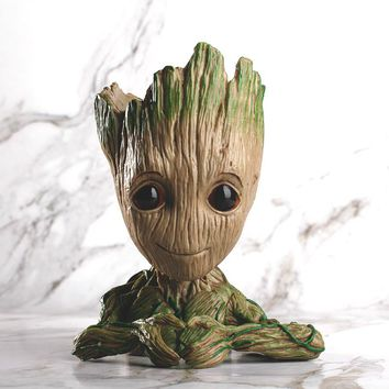 Cute Guardians of The Galaxy 2 3 Avengers Flowerpot Baby Action Figures Model Toy Pen and Flower Pot for Home Decoration