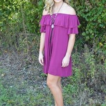 Garnet Gameday Off Shoulder Dress