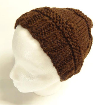 Beanie Brown Hat Hand Knit Textured  Hat For Him