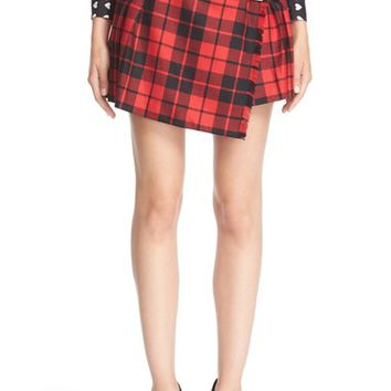 Burberry Leather Trim Plaid Wool Skirt | Nordstrom